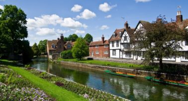 Houses by the river in Canterbury, Kent