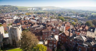 London Best Commuter Towns: aerial view of Lewes in East Sussex