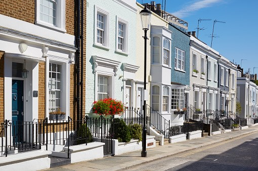 Row of houses in Camden, unaffordable for most london property buyers
