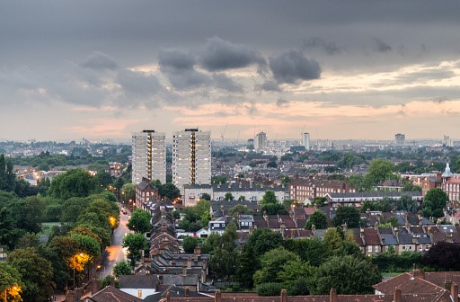 Houses looking over London skyline in Tooting