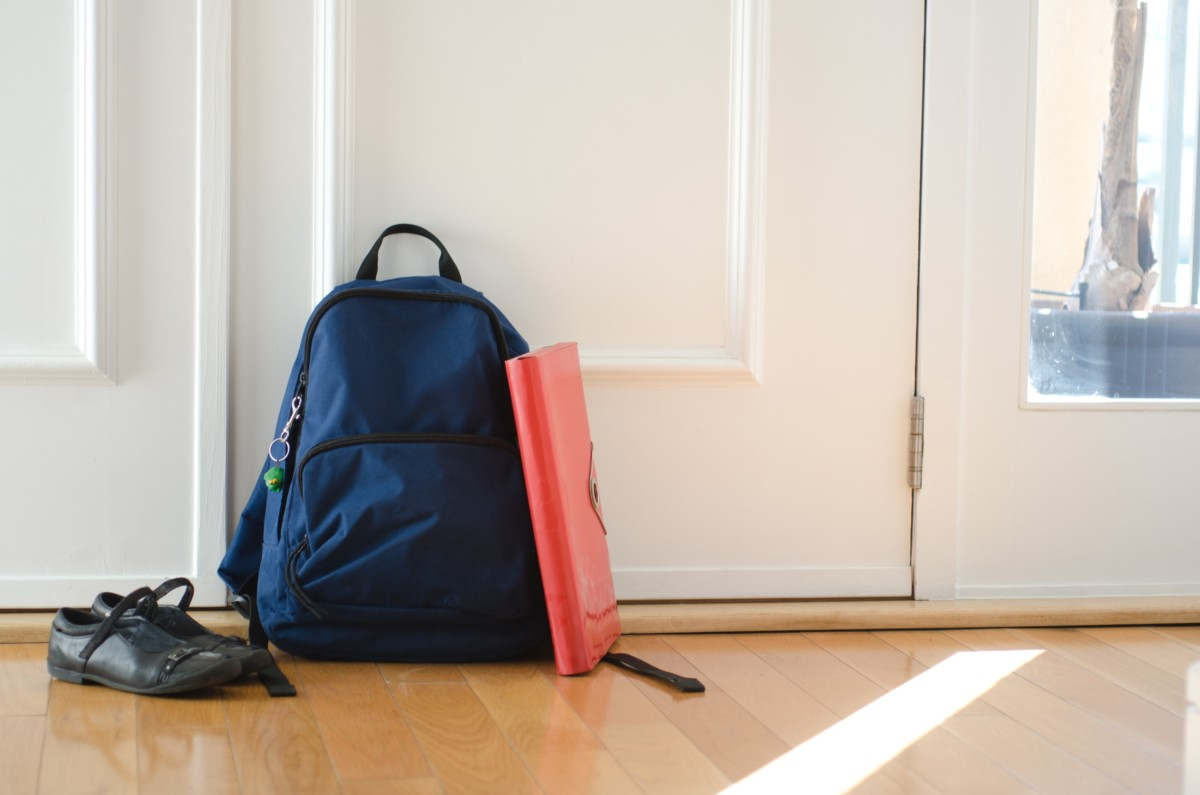 Selling your house before school term starts: school bag by the door
